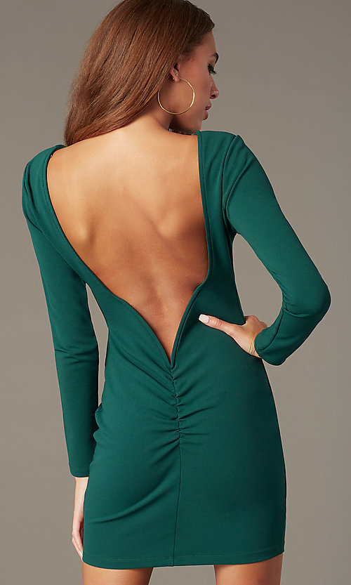 Image of open-back high-neck homecoming dress with sleeves. Style: SY-ID6657AP Front Image