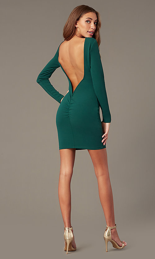 Image of open-back high-neck homecoming dress with sleeves. Style: SY-ID6657AP Detail Image 1