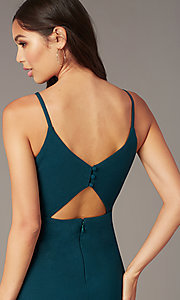 Image of Caspian green short party dress with back cut out. Style: MT-PL-9340-1 Detail Image 1