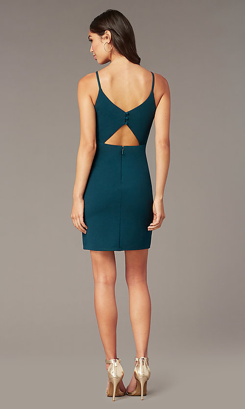 Image of Caspian green short party dress with back cut out. Style: MT-PL-9340-1 Back Image