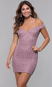 Image of lace off-the-shoulder short sexy party dress. Style: LP-25839-v Front Image