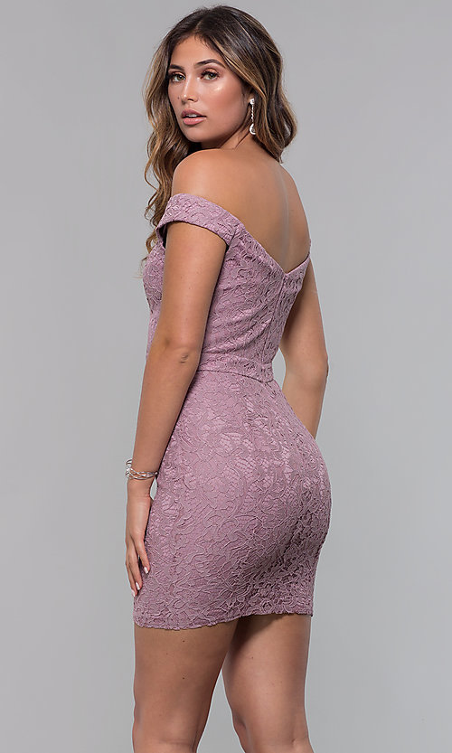 Image of lace off-the-shoulder short sexy party dress. Style: LP-25839-v Back Image