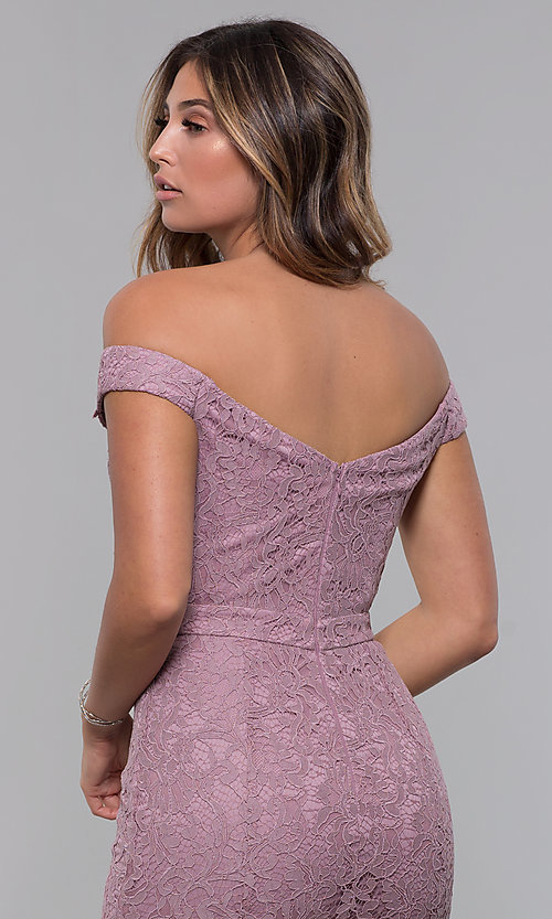 Image of lace off-the-shoulder short sexy party dress. Style: LP-25839-v Detail Image 2