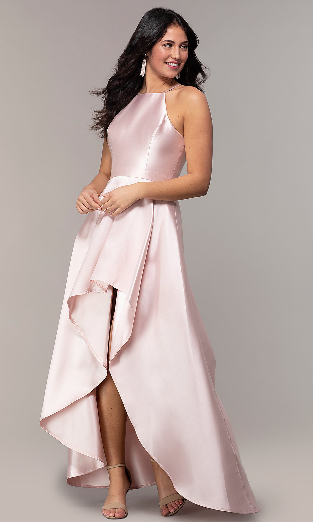 Satin High Low Prom Dress In Blush Pink