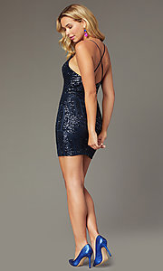 Image of sequin-mesh short navy blue homecoming party dress. Style: MCR-PL-2463 Back Image