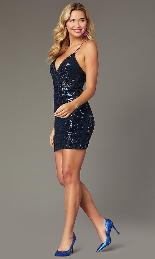 Image of sequin-mesh short navy blue homecoming party dress. Style: MCR-PL-2463 Front Image