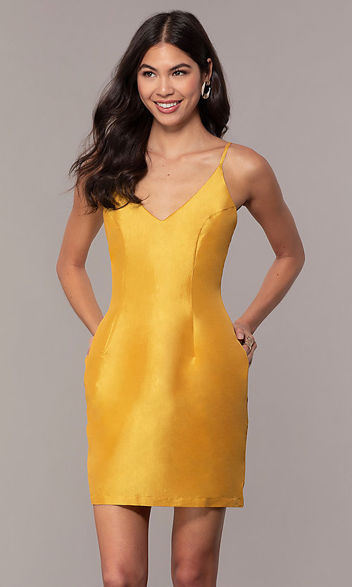 a805a866002 Image of short mustard yellow homecoming dress. Style: LUX-LD5088m Front  Image