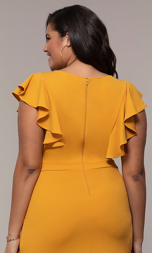 6aff4950b69 Image of v-neck short mustard yellow plus-size party dress. Style