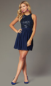 Image of sequin-racerback navy short homecoming party dress. Style: MCR-PL-2555 Front Image