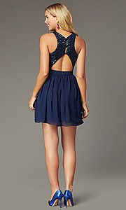 Image of sequin-racerback navy short homecoming party dress. Style: MCR-PL-2555 Back Image