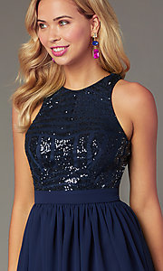 Image of sequin-racerback navy short homecoming party dress. Style: MCR-PL-2555 Detail Image 1
