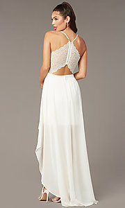 Image of lace-back high-low graduation dress in ivory. Style: EM-FWT-1027-120 Front Image