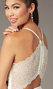 Image of lace-back high-low graduation dress in ivory. Style: EM-FWT-1027-120 Detail Image 1
