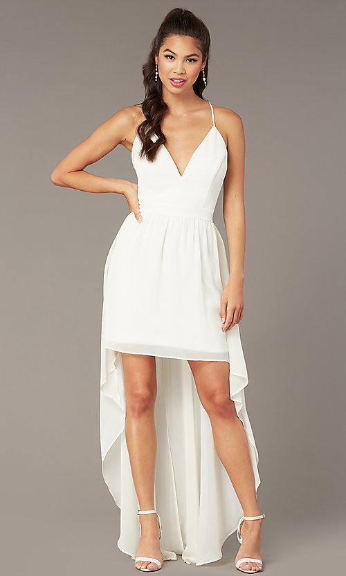 Image of lace-back high-low graduation dress in ivory. Style: EM-FWT-1027-120 Detail Image 2