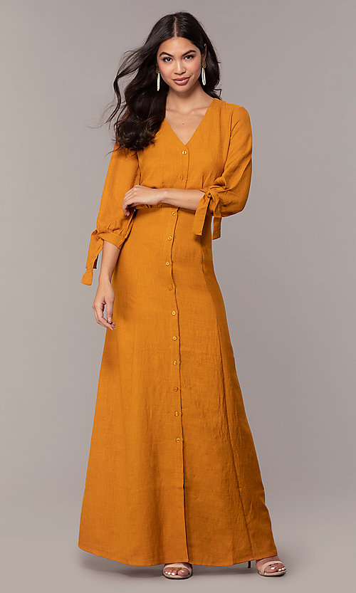 Mustard Yellow Wedding Guest Dress With A V Neck