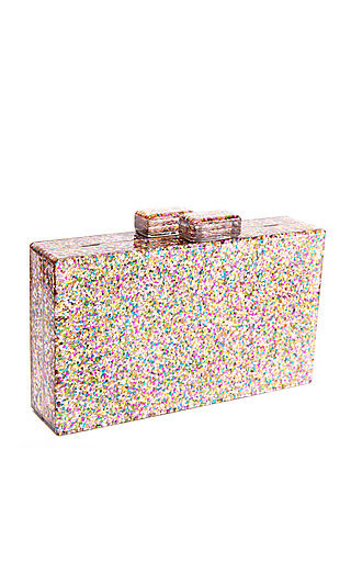 Glitter Bomb Blaer Splash Clutch with a Snap Closure