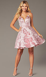 Image of short jacquard v-neck a-line homecoming dress. Style: JO-JVN-JVN00564 Front Image