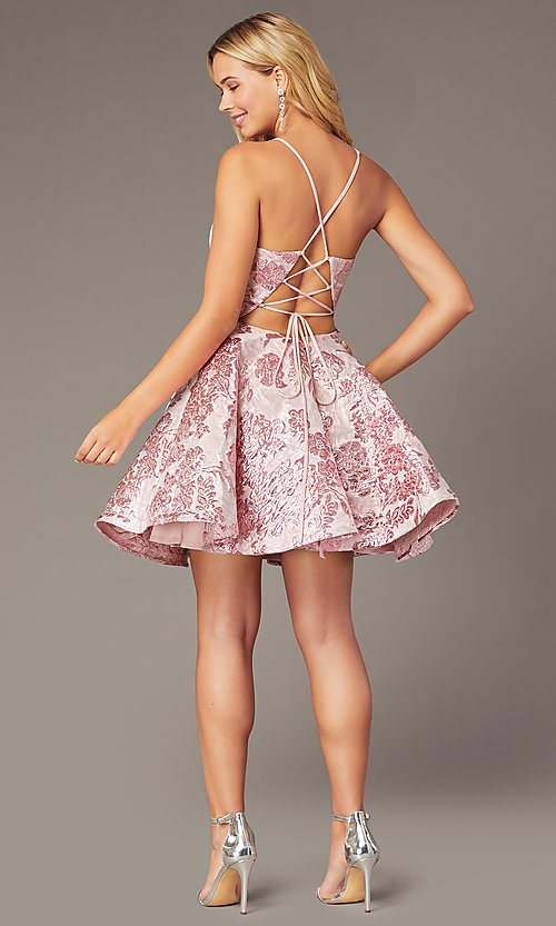 Image of short jacquard v-neck a-line homecoming dress. Style: JO-JVN-JVN00564 Back Image