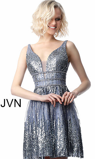 59f85957a7 JVN by Jovani Grey Sequined Homecoming Dress