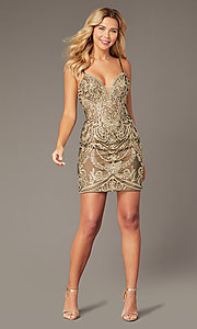 Image of JVNX by Jovani short embroidered homecoming dress. Style: JO-JVNX2201 Front Image
