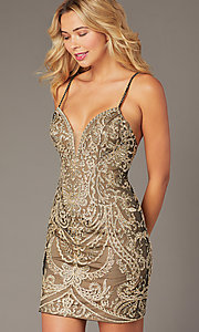 Image of JVNX by Jovani short embroidered homecoming dress. Style: JO-JVNX2201 Detail Image 1