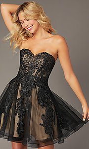 Image of JVNX by Jovani short black corset homecoming dress. Style: JO-JVNX8018 Front Image
