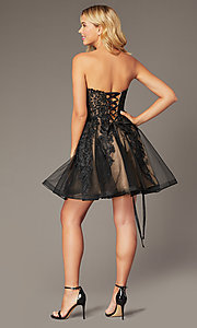 Image of JVNX by Jovani short black corset homecoming dress. Style: JO-JVNX8018 Back Image