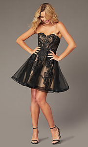 Image of JVNX by Jovani short black corset homecoming dress. Style: JO-JVNX8018 Detail Image 1