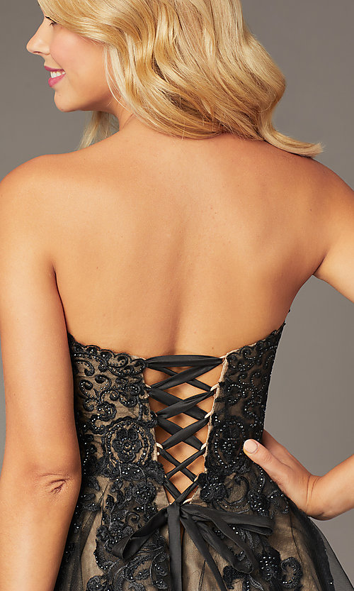 Image of JVNX by Jovani short black corset homecoming dress. Style: JO-JVNX8018 Detail Image 2