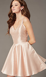 Image of open-back JVNX by Jovani short satin party dress. Style: JO-JVNX3214 Front Image