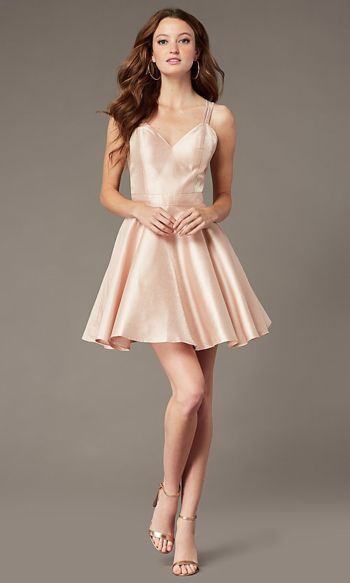 Image of open-back JVNX by Jovani short satin party dress. Style: JO-JVNX3214 Detail Image 2