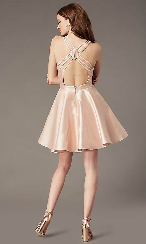 Image of open-back JVNX by Jovani short satin party dress. Style: JO-JVNX3214 Back Image