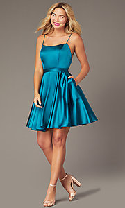 Image of JVNX by Jovani short square-neck party dress. Style: JO-JVNX2274 Detail Image 3