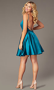 Image of JVNX by Jovani short square-neck party dress. Style: JO-JVNX2274 Detail Image 5