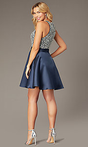 Image of short navy homecoming dress from JVNX by Jovani. Style: JO-JVNX00383 Back Image