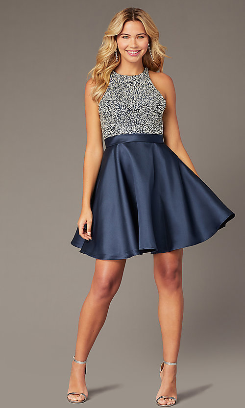 Image of short navy homecoming dress from JVNX by Jovani. Style: JO-JVNX00383 Front Image