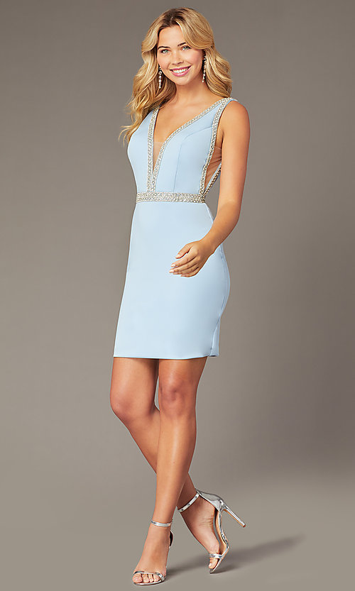 Image of JVNX by Jovani light blue homecoming short dress. Style: JO-JVNX2272 Front Image