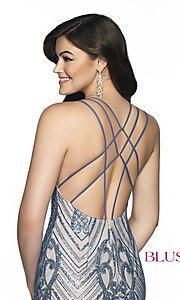 Image of Blush beaded homecoming dress in blue shadow/nude. Style: BL-B151 Detail Image 2
