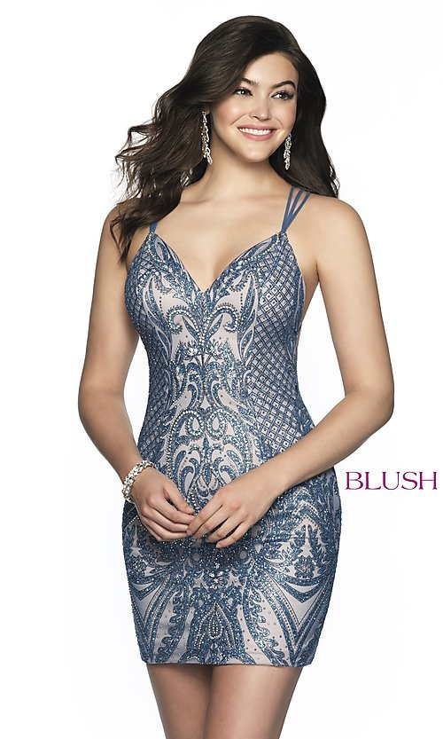 Image of Blush beaded homecoming dress in blue shadow/nude. Style: BL-B151 Front Image