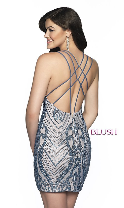 Image of Blush beaded homecoming dress in blue shadow/nude. Style: BL-B151 Back Image