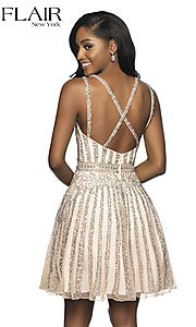 Image of a-line beaded short homecoming dress by FLAIR. Style: BL-FL-19333 Back Image