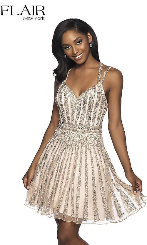 Image of a-line beaded short homecoming dress by FLAIR. Style: BL-FL-19333 Front Image
