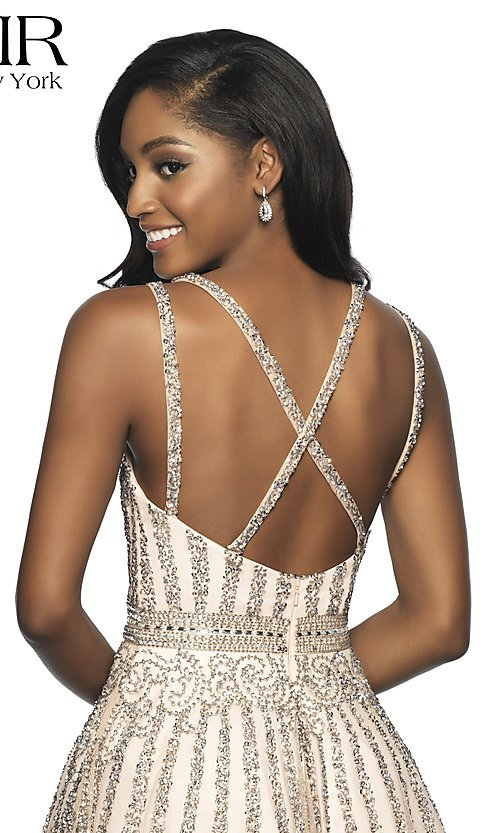 Image of a-line beaded short homecoming dress by FLAIR. Style: BL-FL-19333 Detail Image 2
