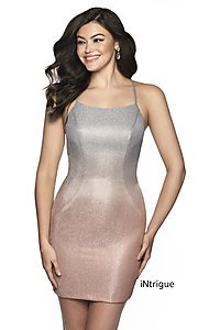 Image of short open-back fitted glitter homecoming dress. Style: BL-IN-631 Front Image
