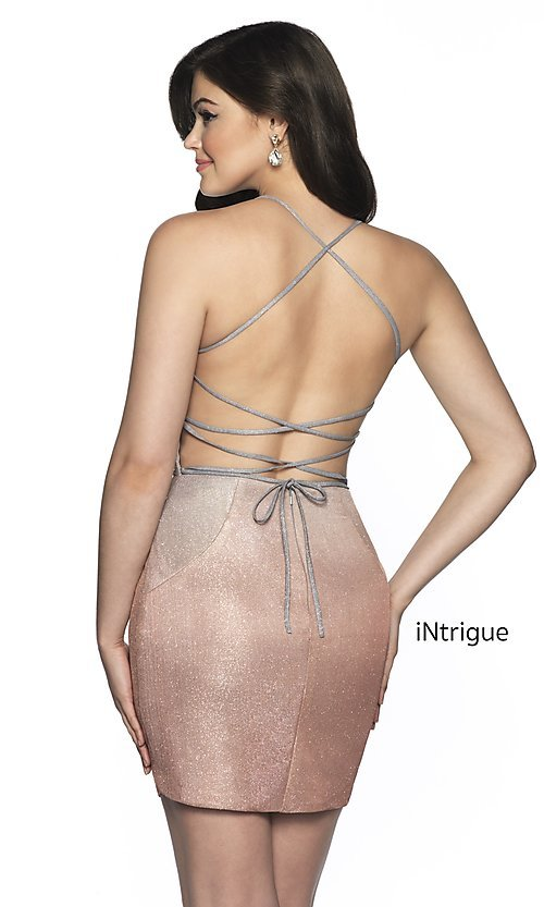 Image of short open-back fitted glitter homecoming dress. Style: BL-IN-631 Back Image
