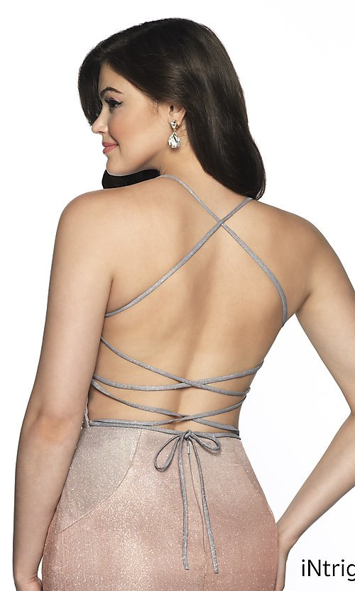 Image of short open-back fitted glitter homecoming dress. Style: BL-IN-631 Detail Image 2