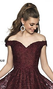 Image of short off-the-shoulder homecoming dress in lace. Style: BL-IN-648 Detail Image 1