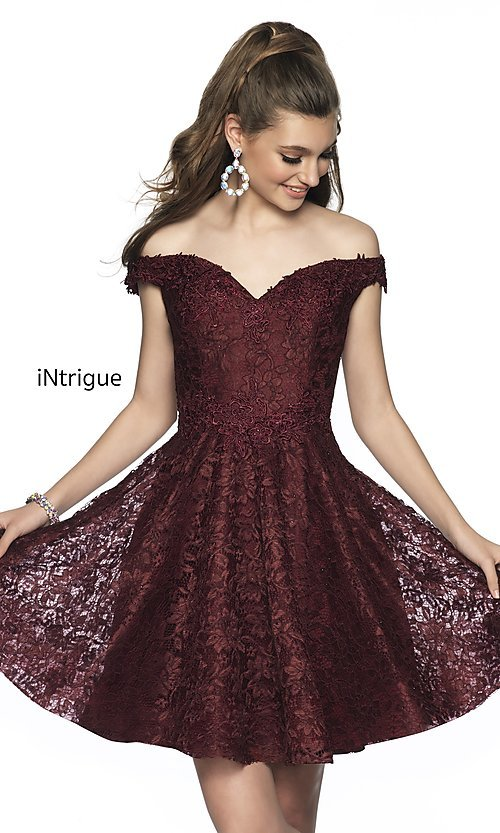 Image of short off-the-shoulder homecoming dress in lace. Style: BL-IN-648 Front Image