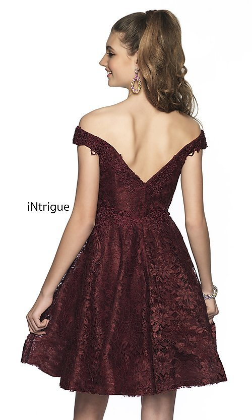 Image of short off-the-shoulder homecoming dress in lace. Style: BL-IN-648 Back Image