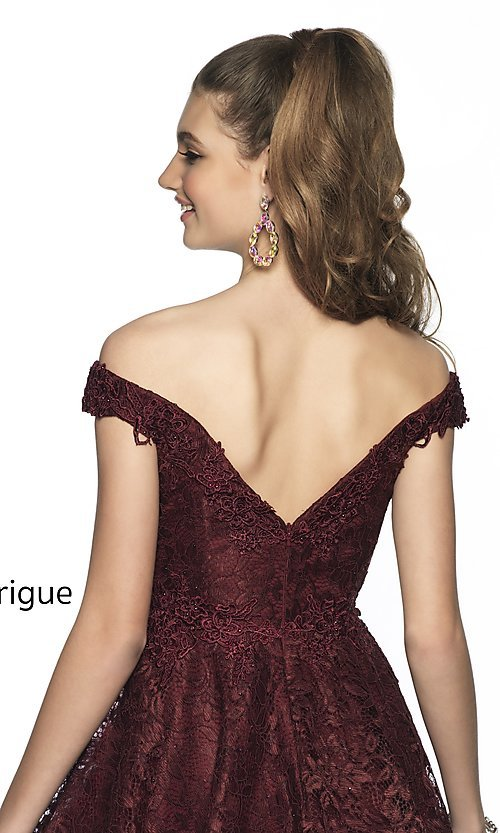 Image of short off-the-shoulder homecoming dress in lace. Style: BL-IN-648 Detail Image 2